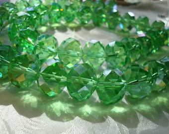 18mm Faceted Green Crystal Rondelles AB Electroplated. 8pc. Biggest Cut Glass Rondelle. A+ Focal and Sun Catcher Beads  ~USPS Ship Rates