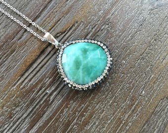 Turquoise Quartz Pendant Necklace with Pave Rhinestone edging/Sterling Silver Chain/Seagreen/Aquamarine/Turquoise/Faceted Quartz Stone