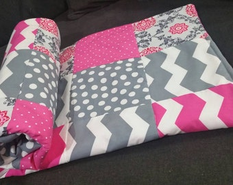 Chevron  pink and gray baby quilt blanket, polka dot