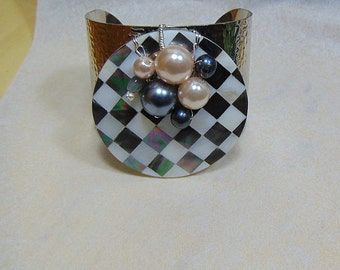 Harlequin Shell Inlay Cuff Bracelet