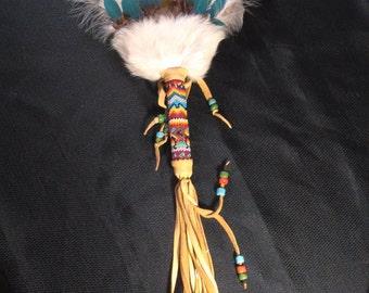 Beaded feather fan