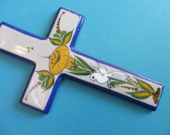 Vintage Ceramic Cross Folk Art Wall Hanging with Yellow Morning Glory and Dove Design Made in Mexico
