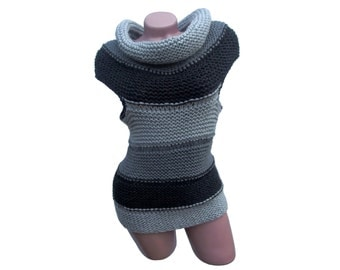 Cowl neck top - Striped top - Gray top - Cowl neck sweater - Knit top - Crochet top - Sleeveless top