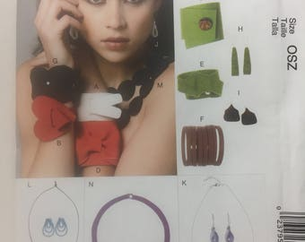 McCall's 6660, Necklaces, Bracelets and Earrings, Wool Felting, Sewing Pattern, Fabric Jewelry, Fashion Accessories, Felt Jewelry,Felting