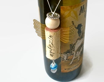Wine Cork Angel Ornament Charm Art Upcycled Hostess Unique Wine Cork Gift Bottle Decoration