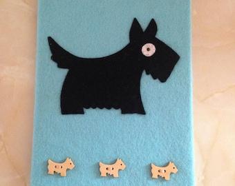 Scotty dog felt covered notebook A5, notebook cover, dog notebook, , secret santa gift