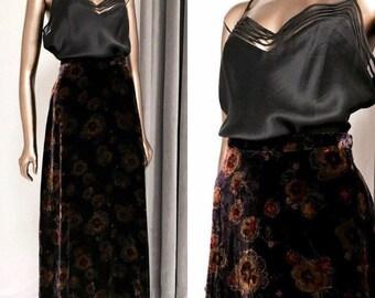 VINTAGE• 1990s LAURA ASHLEY Floral Velvet Burnout High Waist Skirt