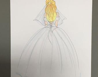 "Fashion illustration , ""Lily the bride"""