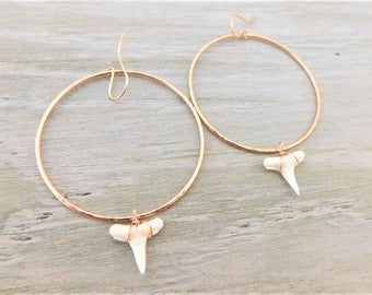 Rose Gold Shark Tooth Hoops, White Shark Tooth Hoops, Rose Gold Shark Tooth Earrings, White Shark Tooth Earrings, Shark Teeth Hoop Earrings