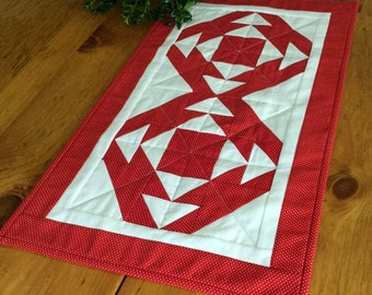 Red Geometric Quilted Table Runner or Wall Hanging Handmade Polka Dot Patchwork Table Topper or Candle Mat