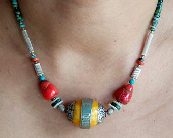 Tibetan Bead With Turquoise/Coral Necklace