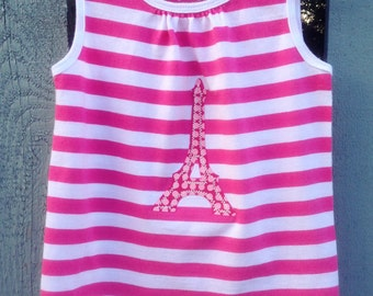 Girl's Tank Top, size 4T, hot pink and white striped tank top with pink polka dot Eiffel Tower applique, all cotton, great for summer, play
