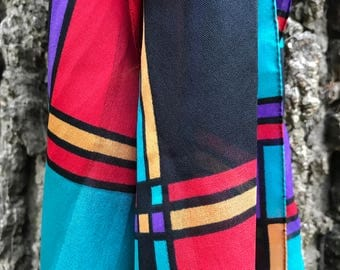 80's Vintage Geometric Scarf, 1980's Color Block Scarf