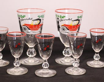 Beautiful Set of Seven Chevrolet 1913 Glasses Cordial Glasses Vintage Advertising Man Cave