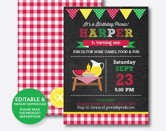 Instant Download, Editable Picnic Birthday Invitation, Picnic Invitation, Picnic Party Invitation, Pink Gingham Invite, Chalkboard(CKB.120B)