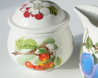 Portmeirion Pomona Sugar and Creamer / Beautiful Fruit Pattern / Art Work
