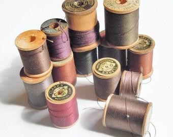 Thread / Vintage Group of Wooden Spools of Dark Toned Thread / Assortment of 13 / Clarks / Belding / Vintage Color Palette