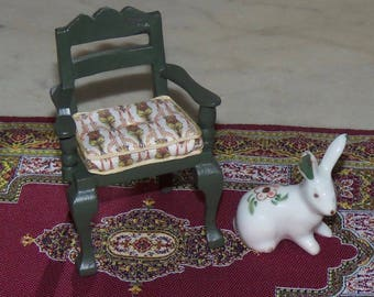 1:12th Dollhouse Side Chair.  Painted Green.  Morris Print Fabric Upholstered.