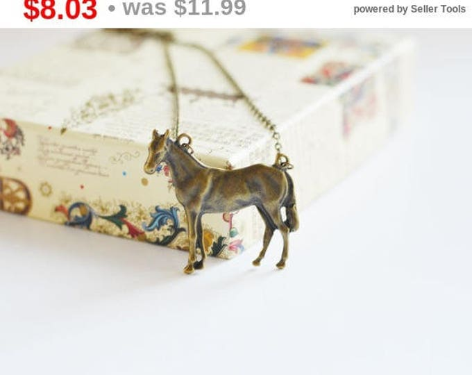 Grace Of The Horse // Necklace in brass metal // For Lovers of Nature and Animals // 2015 Best Gifts // Boho Chic // Retro, Vintage //
