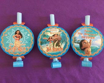 12 Personalized Moana Party BlowOuts, Party Blowers, Party Favors