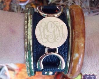 Monogram Cuff Leather Bracelet