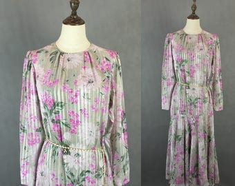 50% OFF FLASH SALE / Vintage Japanese Floral Dress / Chiffon Dress / Fishtail Party Dress / Made in Japan / Size Small Medium