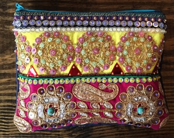 Embellished Gold and Pink Pouch. Bohemian Bag. Boho Clutch.