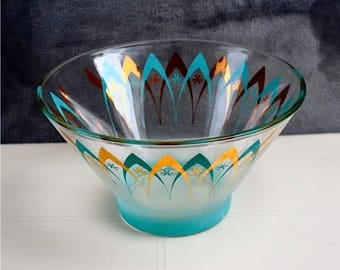 Mid Century Modern Vintage 60's Mid Century Modern atomic CHIP BOWL glass Blue Gold Frosted Retro