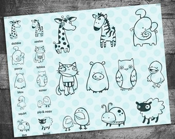 Animal stamps, zebra stamp, cat stamp, pig stamp, owl stamp, sheep stamp, bird stamp, duck stamp, elephant stamps, cute stamps, quirky stamp