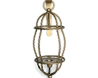 Lantern Candle Sconce, Wall Sconce, Gold Candle Sconce, Lantern Style Sconce, Metal Sconce, Gold Home Decor, Rustic Home Decor