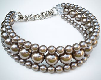 The Via in Charcoal ~ Pearl Dog Collar,Cat collar, Buckle Collars, Martingale Collars, Dog Pearls UNBREAKABLE GUARANTEE!