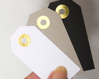 """24 gift tags with gold reinforcement, thank you tag, cardstock kraft paper tag, wedding favor tag, hang tag price packaging 1-3/8x2-3/4"""""""