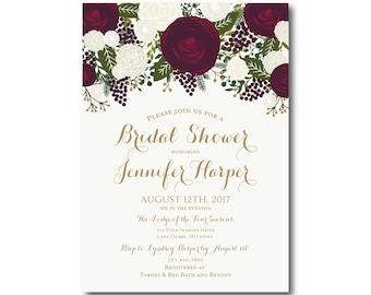 Vintage Bridal Shower Invitation, Fall Wedding, Vintage Floral, Floral Wedding, Vintage Wedding, Printed Bridal Shower Invitation #CL158