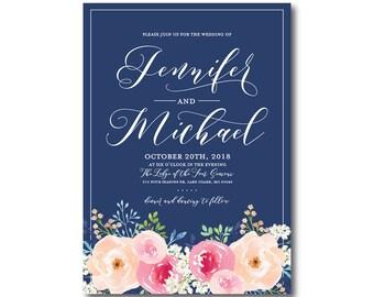 Floral Wedding Invitation, Floral Wedding, Watercolor Flowers, Watercolor Floral, Floral Invitation, Printed Wedding Invitation #CL331