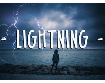 45 Lightning Photoshop Overlays: Thunder Storm Skies Effect for Photographers, Electricity thunderbolt Layers