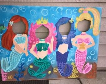 mermaid party mermaid birthday mermaid cutout mermaid photo stand in mermaid face - Face In Hole Halloween