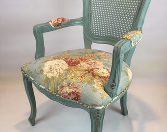 Cottage style painted upholstered floral armchair
