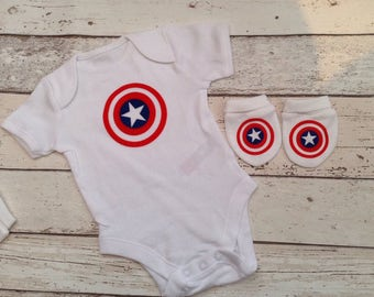 Avengers ,captain America baby vest and scratch mitts