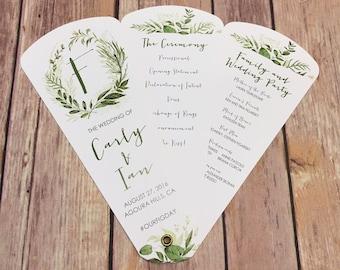 Wedding Program Fans, Petal Fan Programs, Fan Programs - Wilderness Leaves