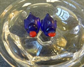 Set of 2 Translucent Cobalt Blue Duck Lampwork Glass Beads - 10mm - Handmade - Rubber Duckie, Water Fowl, Bird, Animal - Translucent