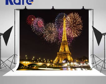Paris Eiffel Tower Night Photography Backdrops Colorful Fireworks Photo Backgrounds for Wedding Studio Props