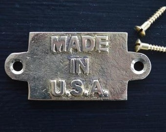 Small vintage solid brass MADE IN U.S.A. plaque sign furniture emblem
