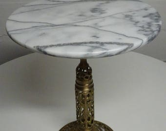 Vintage Small Marble Top Table w/Brass Pedestal Stand - FREE SHIPPING