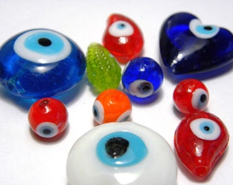 20x Turkish Eye Beads, Lampwork Glass Beads - mixed Colours & Shapes