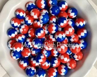 20mm USA- Red, White, & Blue Chevron Zig Zag Chunky Bubblegum Beads Set of 10