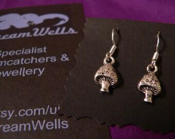 Toadstool Earrings, 925 Silver Ear Wires