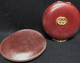 Authentic Vintage Rare GUCCI Wine Enamel COMPACT Purse Cosmetic Mirror Accessory w/ Case