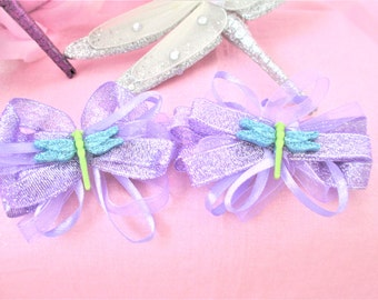 Dragonfly Purple Hair Bow Barrettes Set Of 2