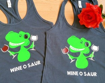 Wine O Saur women's tank. Made to order. Customize.