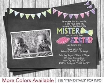 Twins Birthday Invitation - Tutus and Ties Invitation - Boy and Girl Twin Birthday Invitations